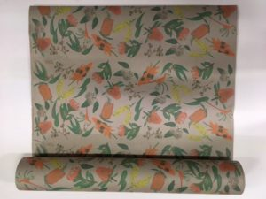 GIFT WRAP RECYCLED BROWN AUSTRALIAN FLORAL RECYCLED BROWN PAPER